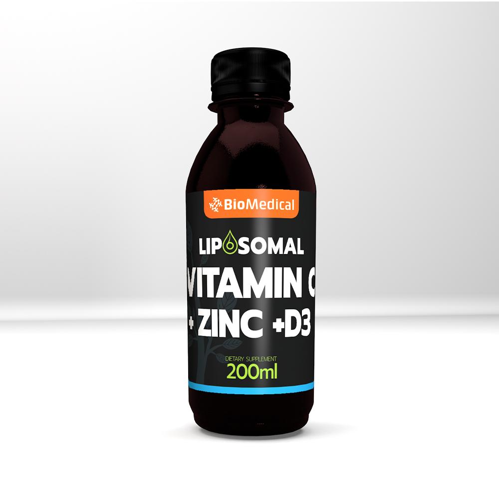 Liposomal Vitamin C + Zinc + D3 - Lipozomální vitamin C, Zinek, D3 200ml